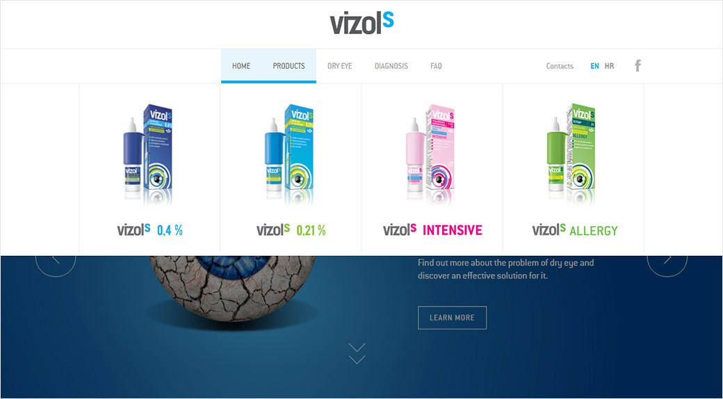 Vizol products menu